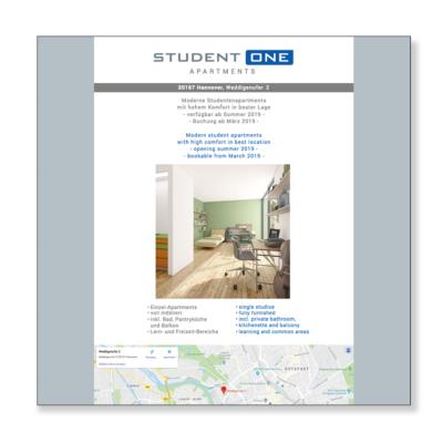 StudentOne Internetseite Agentur Hildesheim